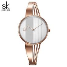 Shengke Mode Gold-überzogene Frauen Uhren Charme Damen Armbanduhr Armband Quarzuhr Frauen Montre Femme Relogio Feminino