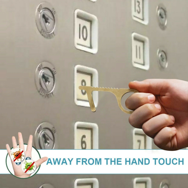 No Touch Open Door Assistant Portable Anti Elevator Button Safety Protection Isolation Brass Key Door Opener