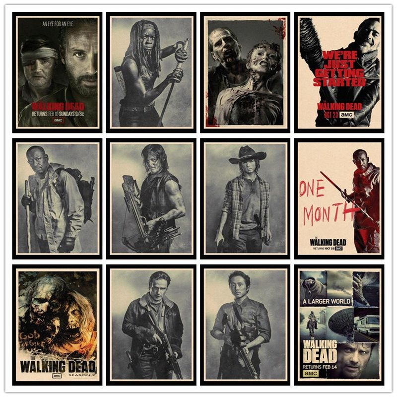 Perfect JL The Walking Dead Vintage Posters For Home/Bar Decor Kraft Paper High Quality Poster Wall Sticker HBB36