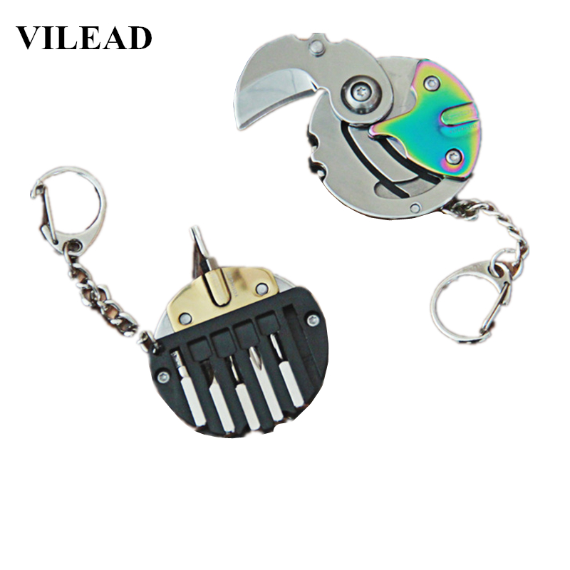 VILEAD Foldable Multifunctional Coin Knife Keychain Mini EDC Keyring Pocket Multi Outdoor Tool Gear Survival Box Package Pendant
