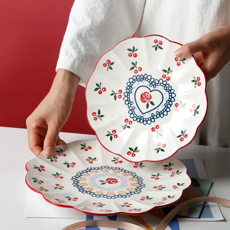 1pc Flower Shaped Ceramic Serving Plate