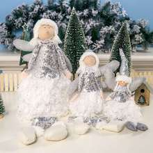 Christmas  Cute Ornament Embroidered Sequined Feather Angel Girl Doll Decoration