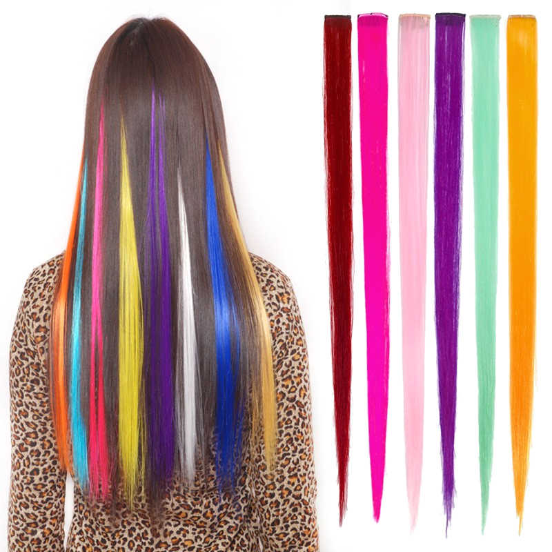 12 Colors Girl Fashion Hair Band Hair Straight Hair Wigs Can Be Used To Blow Color Hair Extension Multicolor Wig Hair Accessorie