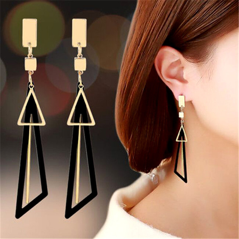Korean Style Geometric Triangle Drop Earrings For Women 2020 Simple Pink Green Black Gold Long Earring Wedding Party Jewelry