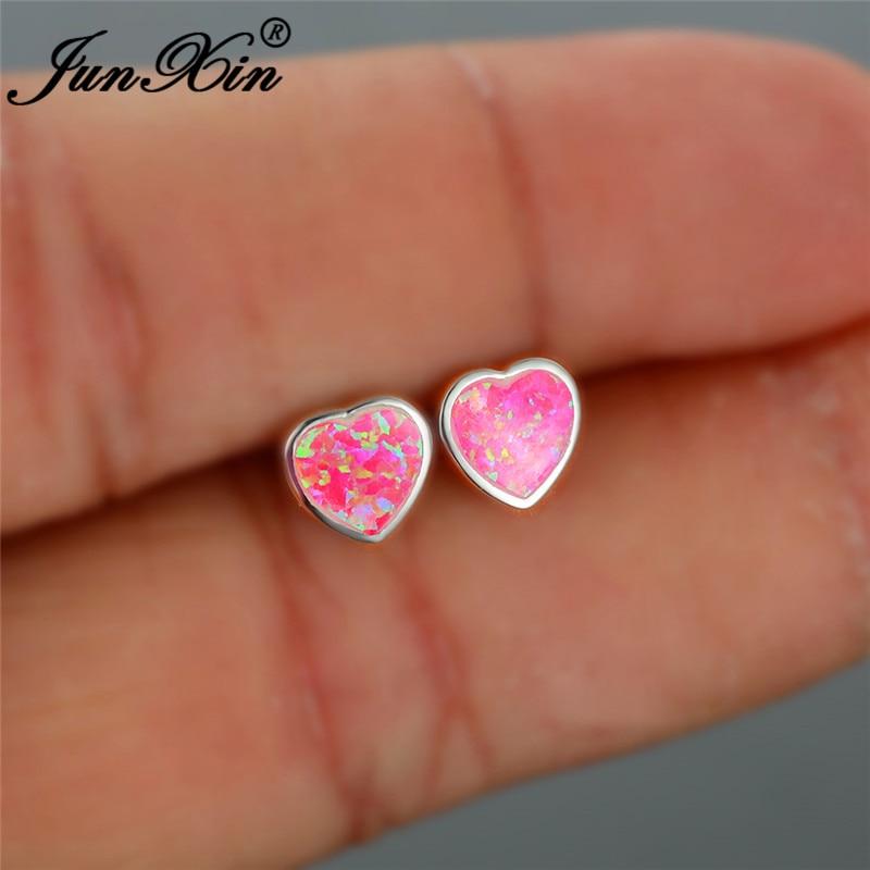 Cute Heart Stud Earrings For Women Pink Fire Opal Earring White Gold Filled Wedding Ear Studs Rainbow Birthstone Jewelry