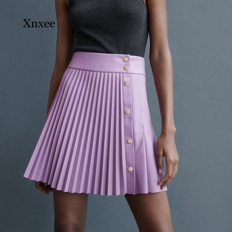 Women Pleated Faux Leather Skirt Female Ladies Mini Sexy Skirts with Metal Snap Button Front Fastening