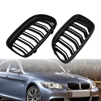 Double Car Slat Kidney Grille Car Front Grille For BMW E90 2009 2010 2011 2012 Gloss Matte Black Grille Parts Car Exterior Parts image