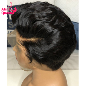 Invisible Bleached Knots 13X4 Pixie Wig Human Hair Pre plucked Baby Hair 4X4 Bob Short Cut Remy Hair Black Women Lace Front Wig(China)