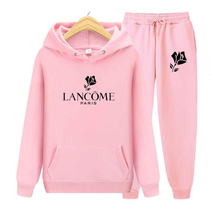 Conjunto de esportes de inverno 2 peça feminino rosa estampado camisa esportiva esportiva casual top + pantsuit feminino