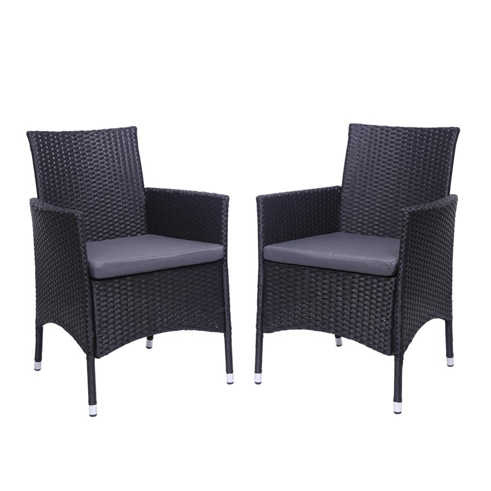 2PCS/Lot PE Rattan Iron Furniture Single Backrest Chair Rattan Sofa Set Black