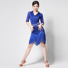 2020 Women's Latin Dance Dresses Competition Fringed Dress With Pearl Belt Plus Size Fringes