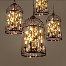 Retro industrial wind crystal birdcage chandelier lamps restaurant bar mall living room lights