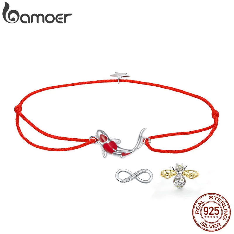 bamoer Guardian Lucky Fish Rope Chain Bracelet for Couple Sterling Silver 925 Star Enamel Jewelry Friendship Bracelets SCB145(China)
