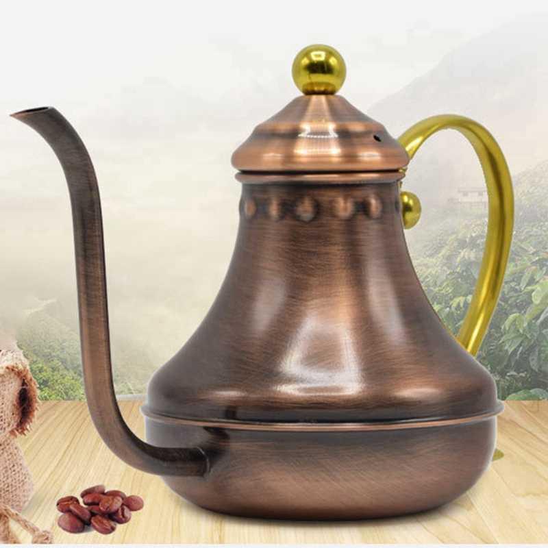 Винтажный ручной капельный кофе гусиная шея носик капельный горшок с длинной ручкой Кофеварка античная медь
