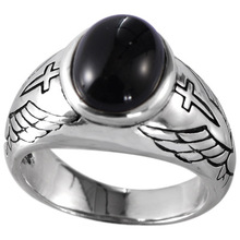 925 Sterling Silver Jewelry Vintage Thai Silver Angel Wing Cross Black Agate Silver Ring sg high polish 925 silver vintage black