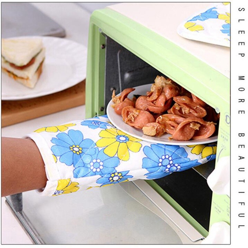 2 PCS Kitchen Baking Cook Insulated Padded Oven Gloves Mitt Heat Insulation Pad Cotton Non-slip Heat Resistant Microwave