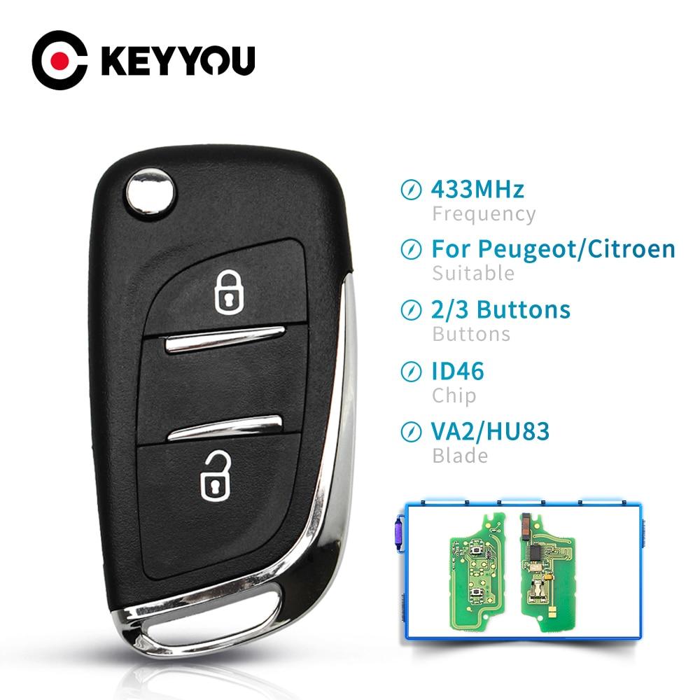 KEYYOU автомобиля FSK 433 МГц ID46 Fob модифицированный дистанционный ключ для Peugeot 407 407 307 для Citroen C2 C3 C4 C5 C6 C8 2/3 кнопки CE0536