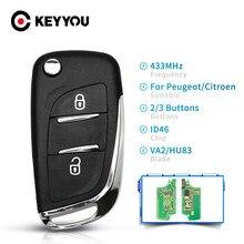 KEYYOU автомобильный FSK 433 МГц ID46 Fob модифицированный дистанционный ключ для Peugeot 407 407 307 для Citroen C2 C3 C4 C5 C6 C8 2/3 кнопки CE0536