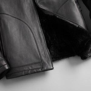 Image 5 - Good Mink Fur Lined Coat Men Winter Warm Casual Leather Sheepskin Jackets Top Quality Real Sheepskin Leather Outwear