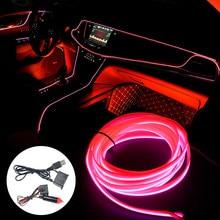 5M Interior del coche luz de neón guirnalda cable EL alambre de la cuerda de alambre de tubo ambiente tira de LED decoración tubo flexible 8 colores de Led