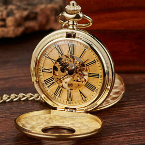 Watch Mechanical Open-Case Vintage 2-Sides Fob-Chain Dial-Clock Gift Hand-Wind Roman