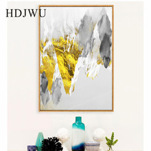 Nordic Art Home Wall Canvas Painting  Picture Golden Abstract Printing Poster for Living Room DJ500