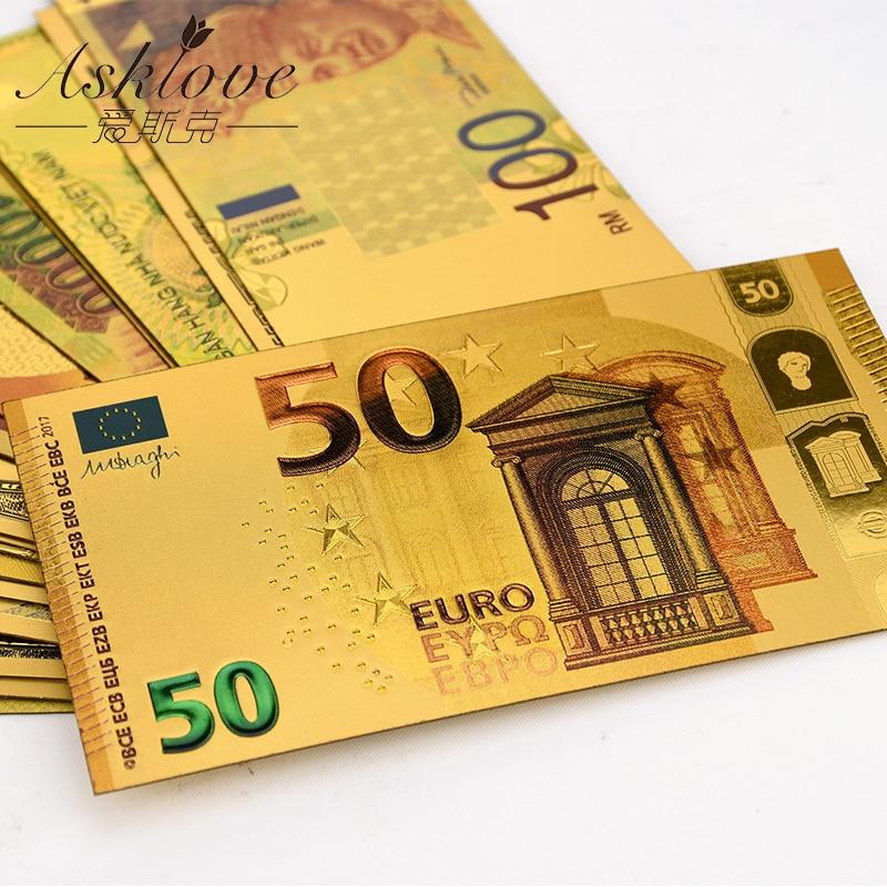 10 Uds. Billetes de oro EUR, papel de aluminio dorado, dinero falso de oro de 24K para colección Souvenir 5 10 20 50 Euro, juegos de billetes, muestra