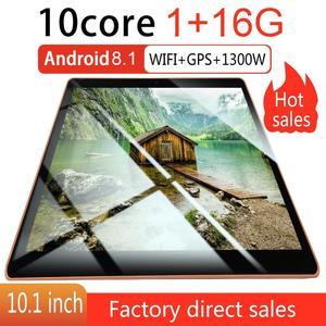 KT107 пластиковый планшет 10,1 дюймов HD большой экран Android 8,10 версия модный портативный планшет 8G + 64G черный планшет с европейской вилкой