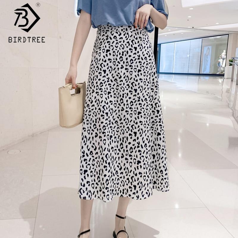 2020 Spring And Summer New Women's Office Lady Leopard Print Chiffon Skirts Fashion Elastic Waist A-line Midi Skirt B01607O