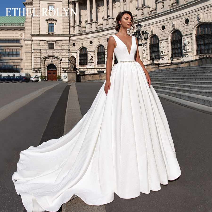 ETHEL ROLYN Backless Satin Wedding Dresses 2020 Vestido De Noiva Ivory A-Line Sleeveless Crystal Sashes Princess Wedding Gowns