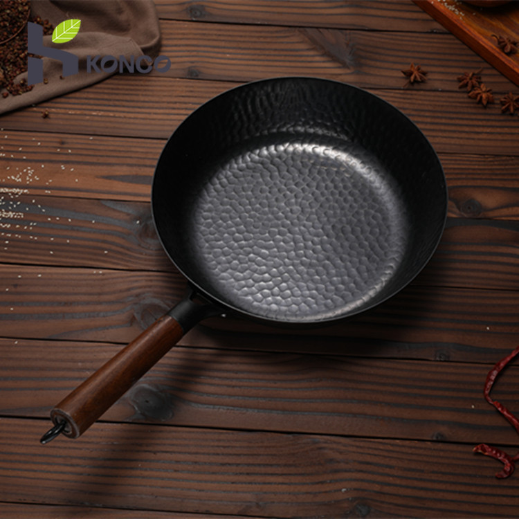 Konco Non-coated Chinese Cast Iron Wok Non-stick Pan Smokeless Fried Pan Cook Pots Kitchen Cookware Chef Pan Cooking Tools