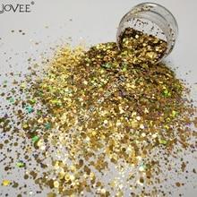 Голографический лазерный алмаз-Золотой глиттер для ногтей шестиугольные блестки Spangle в форме порошка для косметика для ногтей Facepaint блеск