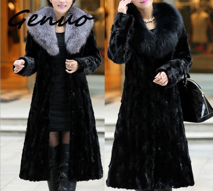 Genuo 2019 New faux fur fashion coat autumn and winter long water mink fur coat fox big fur collar Europe plus size women