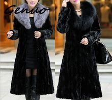Genuo 2019 New faux-fur fashion coat autumn and winter long water mink fur fox big collar Europe plus size women