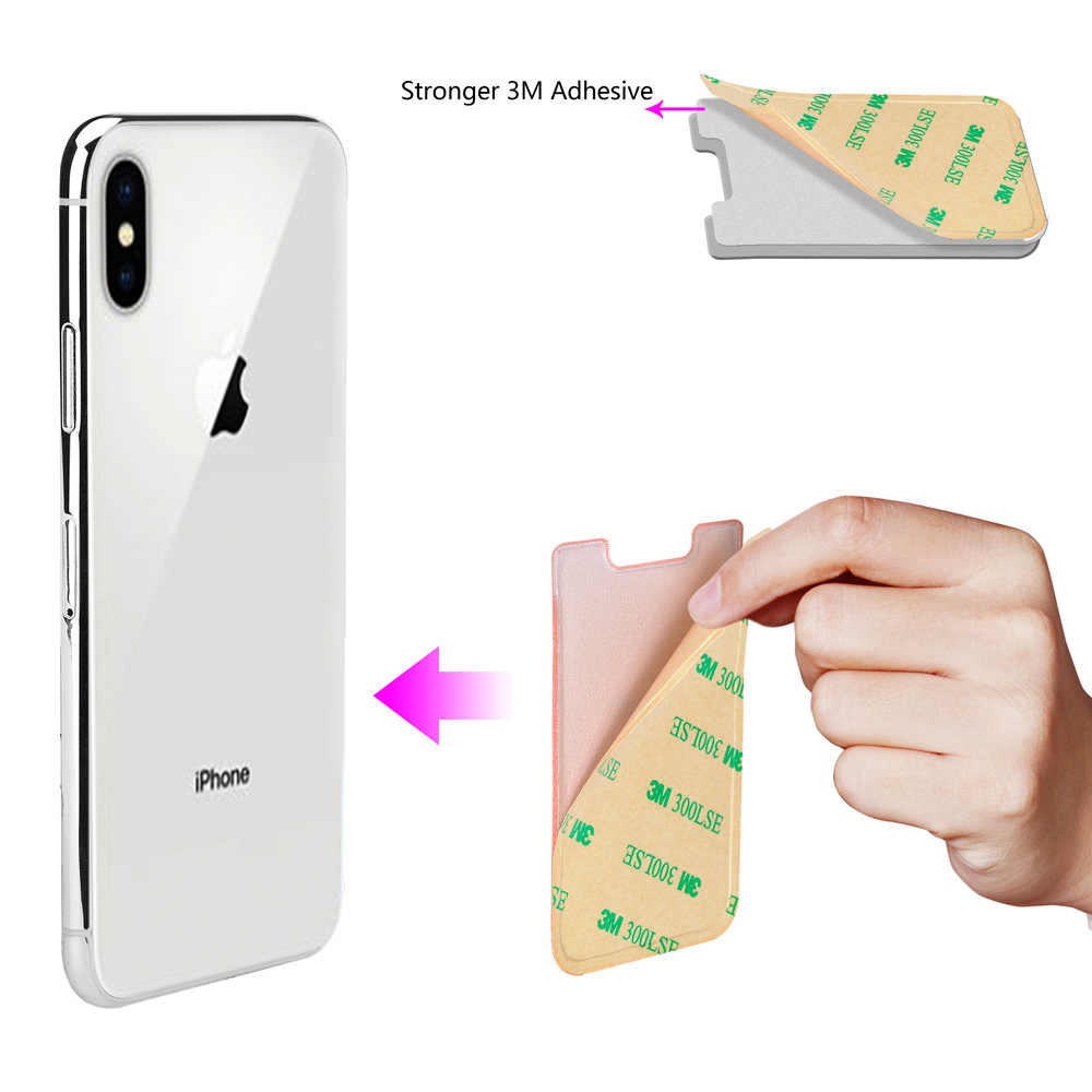 Creative silicone Cell Phone Wallet Case Women Men Credit ID Card Holder Business Pocket Stick 3M Adhesive 58*88mm
