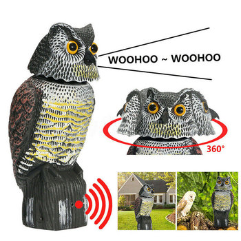 Realistic Owl Pest Deterrent Handmade Birds Hunting Decoy Scarer Repeller Control Scarecrow Garden Yard Move