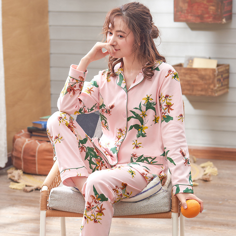 Spring Autumn Long-Sleeved Floral Printing Cardigan Tops Comfortable Cotton Pajamas Home Wear Suit Pijama Stitch Female Clothes