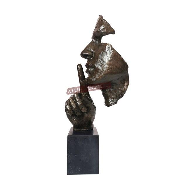 Bronzen Standbeeld Man Gezicht Zwijgen Sculptuur Nieuwigheid Vintage Art Menselijk Hoofd Buste Beeldje Voor Home Decoratie Desktop Display
