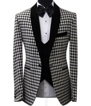 2020 New Men's Jacket Houndstooth Dogstooth Fashion Shawl Lapel Prom Tuxedos Plaid Coat for Party 1Piece custom size