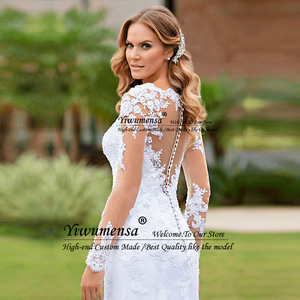 Image 2 - Romantic Mermaid Long Sleeves Wedding Dress Robe Mariage Femme Black Appliques Bride Dresses Africa Bridal Gowns Vestido Novias