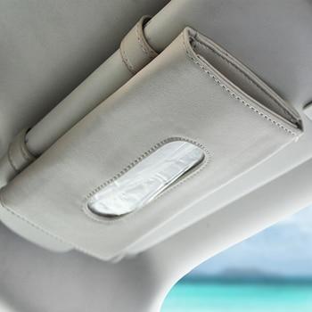 1 Pcs Car Tissue Box Towel Sets Car Sun Visor Tissue Box Holder Auto Interior Storage Decoration for BMW Car Accessories - Beige 1 Pcs
