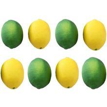 IALJ Топ 8 Упаковка искусственные лимоны Лаймы фрукты для Ваза Наполнитель дома кухня вечерние украшения, желтый и зеленый