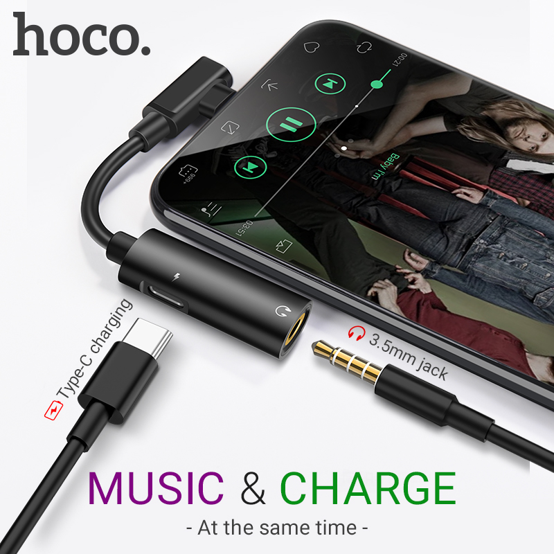 hoco audio converter Type C to 3.5 jack 2 In 1 charger 1.5A AUX splitter portable USB C earphones dongle headphone adapter audio|Phone Adapters & Converters| |  - title=