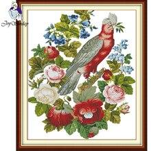 Joy Sunday,Parrots,cross stitch embroidery set,Cartoon cross pattern,cross needlework,Animal pattern