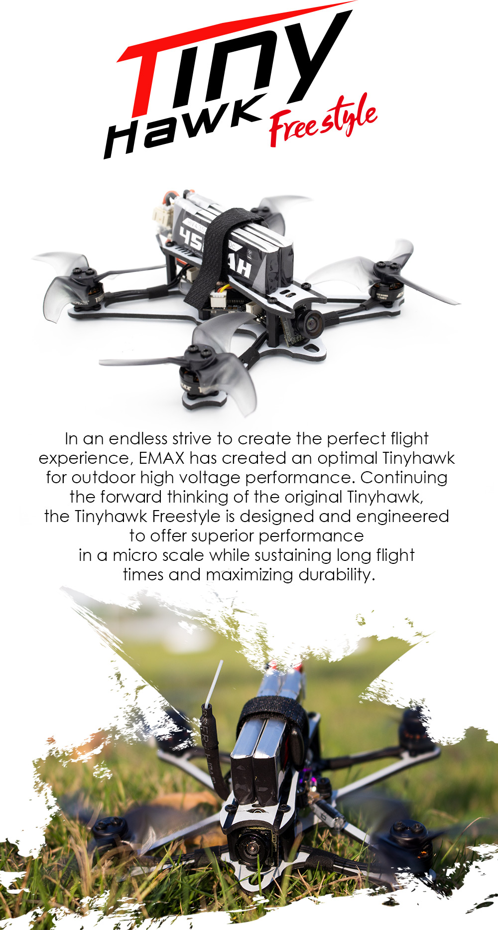 EMAX Tinyhawk Freestyle 115mm F4 Brushless Motor 2.5/'/' Fpv Racing Drone BNF L8P9