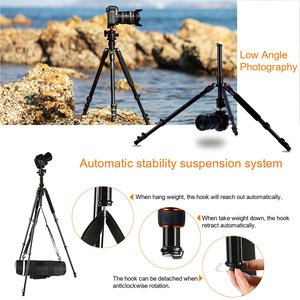 Image 3 - K&F CONCEPT Portable Camera Tripod Stand Aluminum Aolly 4 Section 63.4in/161cm with Panoramic 360° Swivel Ball Head for DSLRs