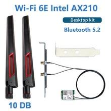 3000Mbps Wi-Fi 6E Intel AX210 Bluetooth 5,2 Desktop Kit Wifi 6 AX200 Karte 10DB Antenne 802,11 ax 2,4G/5Ghz/6Ghz AX210NGW Adapter