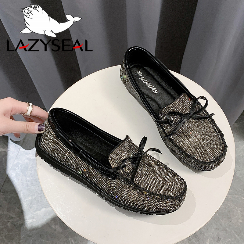 LazySeal Luxury Crystals Women Shoes Flats Bling Woman Shoes Ladies Shoes Round Toe Slip-on Loafers Shoes Zapatos De Mujer