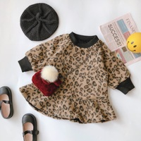 WLG girls winter dresses kids velvet thick leopard printed fashion dress baby girl warm all match dress 2 6 years