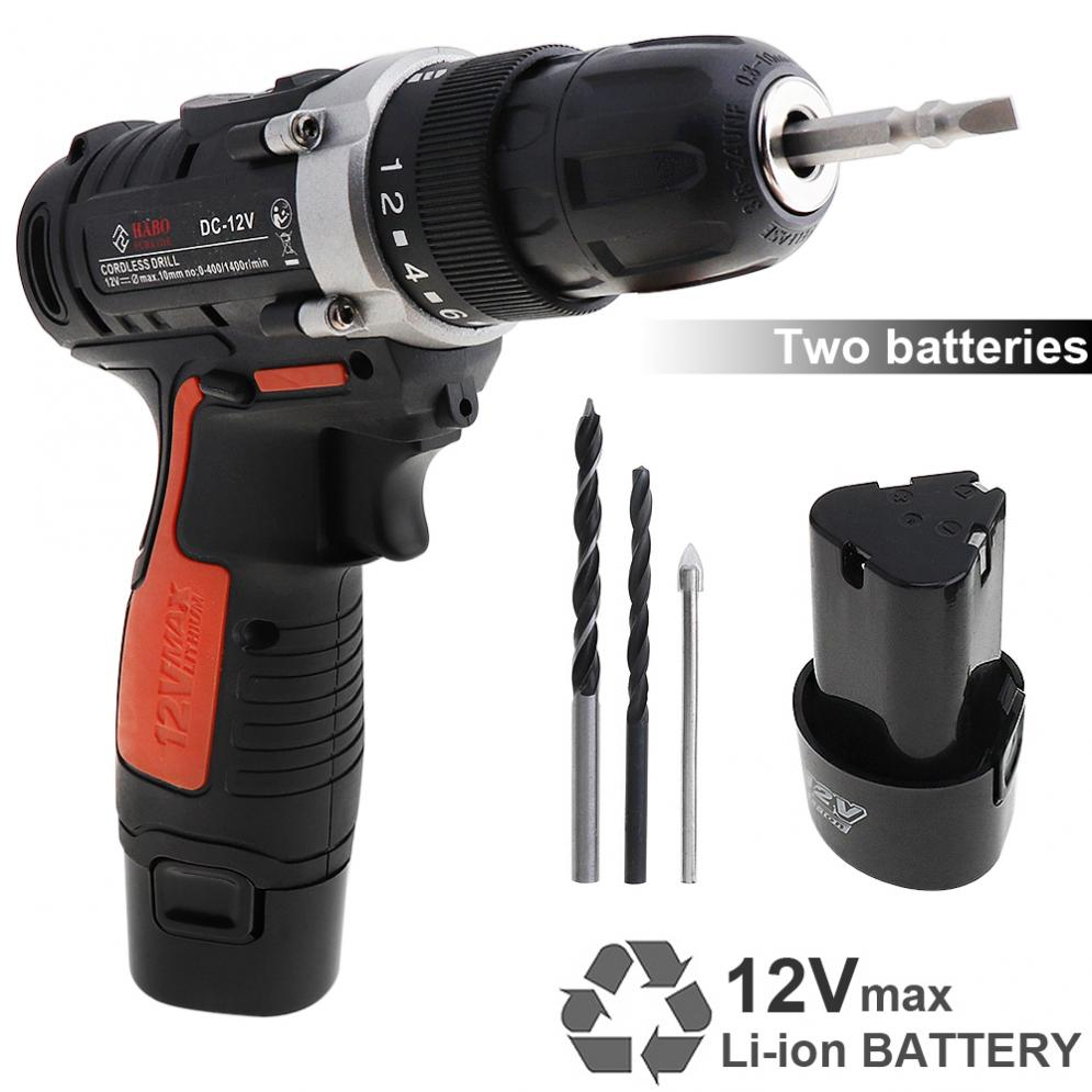 100 240V Cordless 12V Electric Drill / Screwdriver with 2 Li ion Batteries and Two speed Adjustment Button for Handling Screws